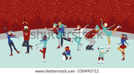 Various people characters on winter ice rink