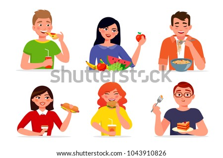 Various people eating fast food and healthy food vector flat illustration. Men and women eat tasty dishes and meals isolated on white background.