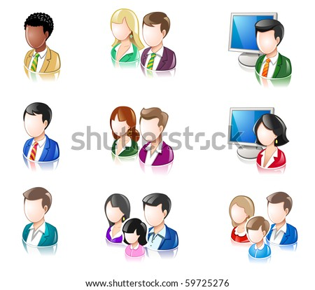 Various People Glossy IconSet 2 - stock vector