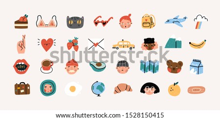Various people's faces, tasty food, travel, love, romance. Different icons and logos. Cute hand drawn trendy vector illustrations. Cartoon style. Flat design. Naive art. All elements are isolated
