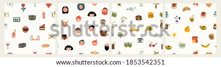 Various people's faces, tasty food, travel, love, romance. Different icons and logos. Cute hand drawn trendy vector illustrations. Cartoon style. Flat design. Set of four Seamless patterns