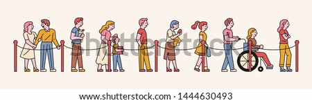 Various people waiting in line according to guidelines. flat design style minimal vector illustration. Foto stock ©