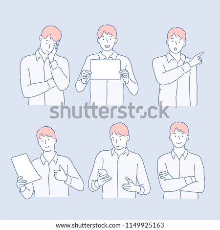 Various poses and expressions of business man. hand drawn style vector design illustrations.