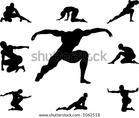 various poses of a man kneeing Stock foto ©