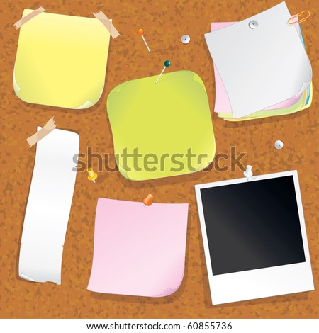 Various Post notes on Cork Message Board - vector illustration - to see similar - please VISIT AT MY GALLERY