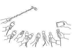 Various press reporter hands with microphones and recorder in press interview. Politics, business, press interview, news, concept. Outline, linear, thin line, hand drawn sketch design, simple style.