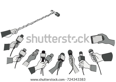 Various press reporter hands with microphones and recorder in press interview. Politics, business, press interview, news, concept. Outline, linear, thin line art, hand drawn sketch design, monotone.