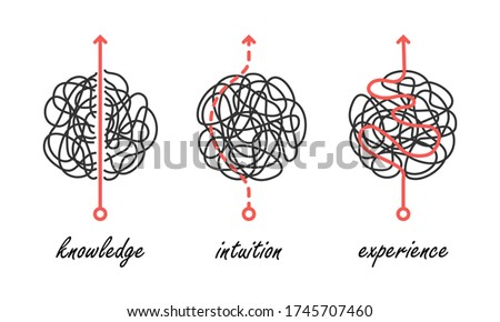 Various problem solving approaches based on experience, intuition, and knowledge, simple abstract vector icons as metaphors of uncertainty overcoming and decision making Stock foto ©