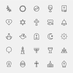 Various religious icons vector illustration flat design