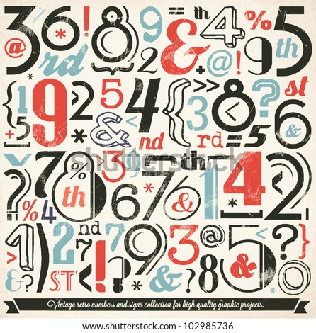 Various Retro Vintage Number and Typography Collection. For High Quality Graphic Projects.