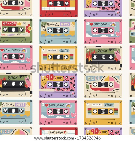 Various Retro Vintage tape Cassettes. Audio tapes. Different Mixtapes. Disco, Our songs, Hip- Hop, Summer hits, Rock, Love songs. Hand drawn colored Vector Seamless pattern. Background, wallpaper