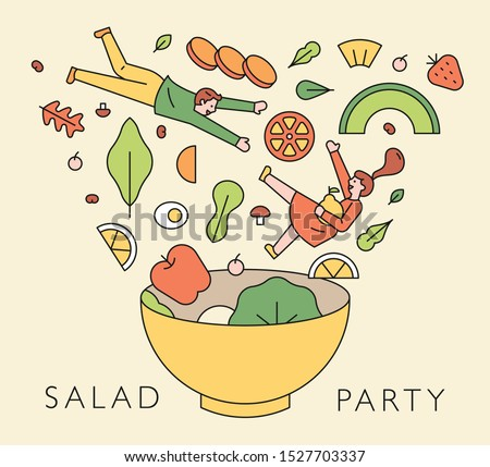 Various salad ingredients falling into the salad bowl. Falling man and woman characters with vegetables. flat design style minimal vector illustration.