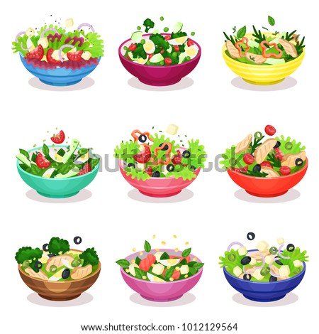 Stock Photo Various salads set, vegetable, fish and meat salad, healthy eating concept vector Illustrations