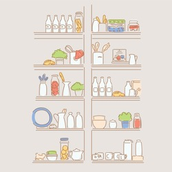 Various sauces and cooking utensils on kitchen shelves. hand drawn style vector design illustrations.