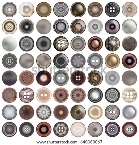 Various sewing buttons isolated on white. Mega set of realistic metal round button set. 3d illustration. vector.