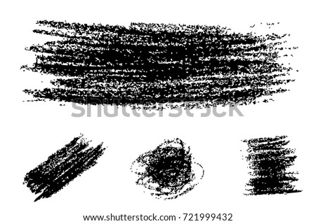 Various shape of Streak from Black Crayon, Isolated on White