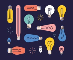 Various shaped bulb design patterns. flat design style minimal vector illustration