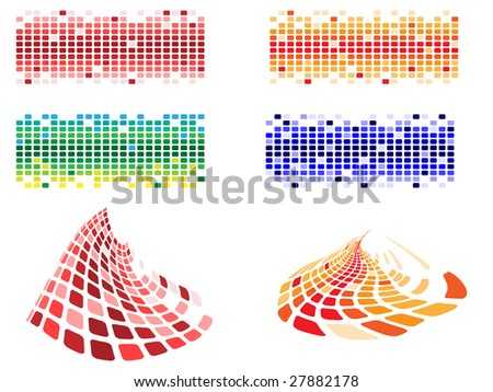 various shapes and color pixels