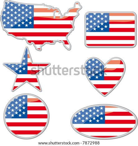 various shapes with the Usa flag inside