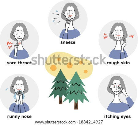 various signs of hay fever Stock photo ©