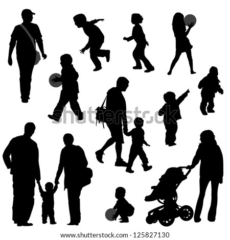 Various silhouettes of parents with their kids. Kids running and playing. - stock vector