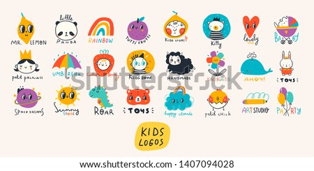 Various simple, doodle, cute,  minimalistic icons for kids. Hand drawn pre- made logos. Big vector set. Children's drawings style. Design elements. Cartoon style. Flat design. Everything is isolated