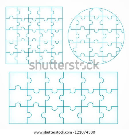 Various sizes puzzle isolated on white background, vector illustration, graphic design editable for your design. Puzzle Logo