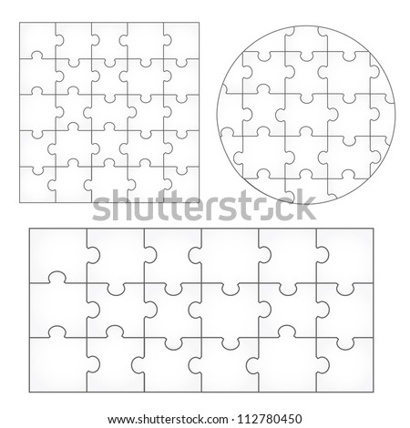 Various Sizes Puzzle Set - Isolated On White Background, Vector Illustration, Graphic Design Editable For Your Design. Puzzle Logo