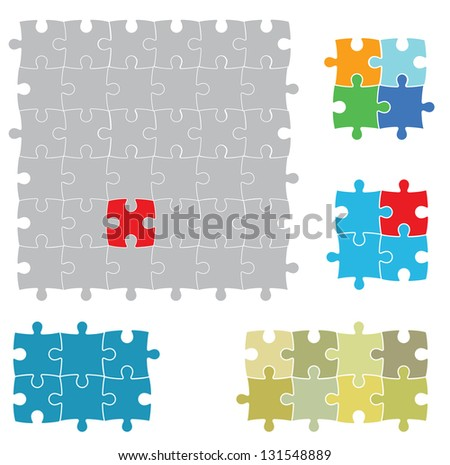 Various sizes puzzles, isolated on white background.