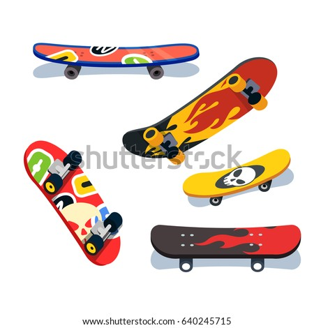 various skateboards views and