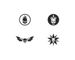 Various Skull Devil logo vector illustration, skulls with fire, crown, bat wings, star