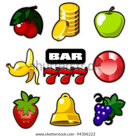 Various slot fruit machine icons vector