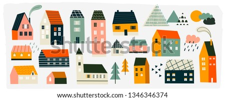 Various small tiny houses, trees and mountains. Paper cut style. Flat design. Hand drawn trendy illustration. Big colored vector set. All elements are isolated ストックフォト ©