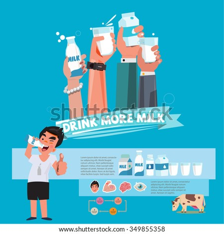 Various smart Hands holding bottle and cup of milk. character design. healthy drink milk concept - vector illustration