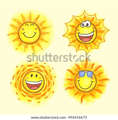 various smiling sun cartoon