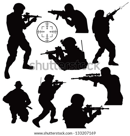 various soldiers in combat