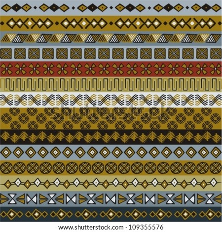 Various strips motifs colored in Earth tone