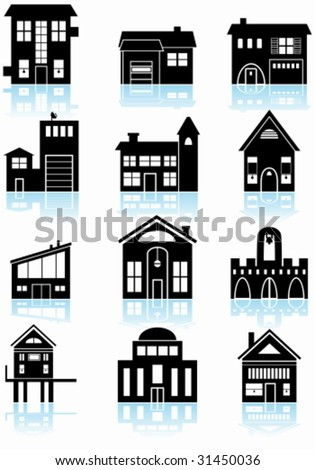 Various structures black set of a wide range of generic for Basic architectural styles
