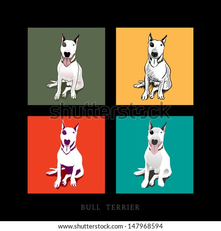 Various Style of a white Bull Terrier Dog sitting isolated
