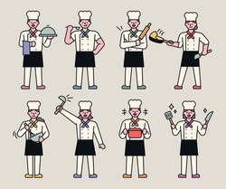 Various styles of chef characters. They are cooking with their cooking utensils in their hands. flat design style minimal vector illustration.