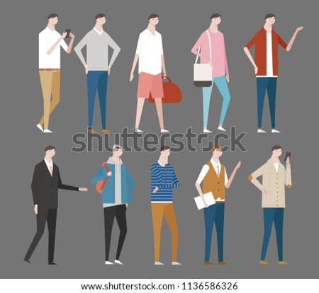 various stylish men fashion. flat design style vector graphic illustration set