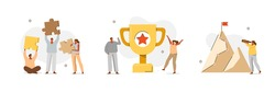 Various Success and Goals Icons. Characters standing near Gold Cup and Celebrating Victory, Successfully Collecting Puzzle and Climbing on Mountain. Flat Cartoon Vector Illustration and Icons Set.