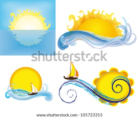 Various suns and waves, isolated on white background