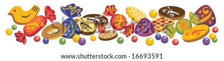 Various sweets and cookies on a white background. You can change an arrangement of objects for the discretion - stock vector