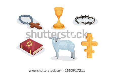 Various Symbols Of Christian And Jewish Religions Vector Illustration Set Isolated On White Background