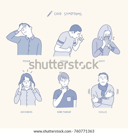 Various symptoms of people suffering from colds. hand drawn illustrations. vector doodle design