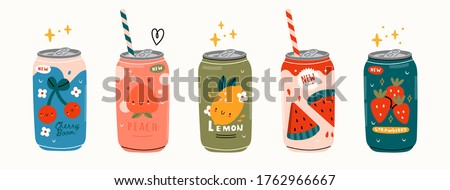 Various tasty Sodas. Hand drawn Vector set of soft Drinks in aluminum Cans. Carbonated water with different fruit flavors. Kawaii Japanese style. Trendy illustration. All elements are isolated