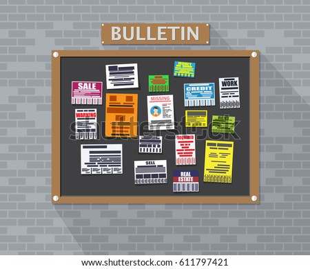 Various tear off papers ad on bulletin board on brick wall. Advertisement and announcement, sell, rent, missing human, credit, work, money. Vector illustration in flat style