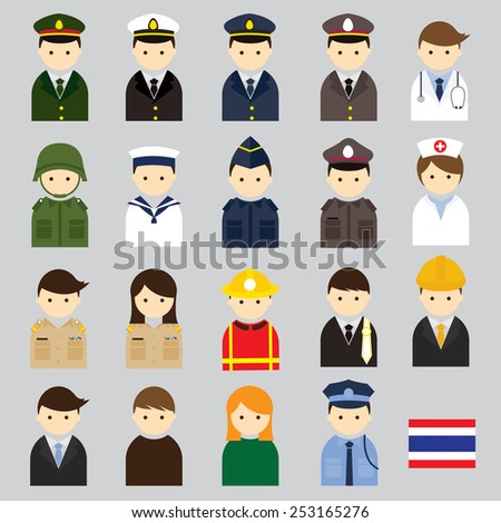 various thai people and officer