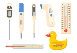 Various thermometers flat item set. Cartoon medical tool for high temperature measurement isolated vector illustration collection. Measuring instruments and indication concept